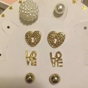 4 Sets of Cute Gold and Pearl Earrings NWOT